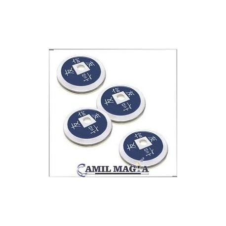 Set 4 Monedas Chinas Aluminio Tamaño Medio Dolar