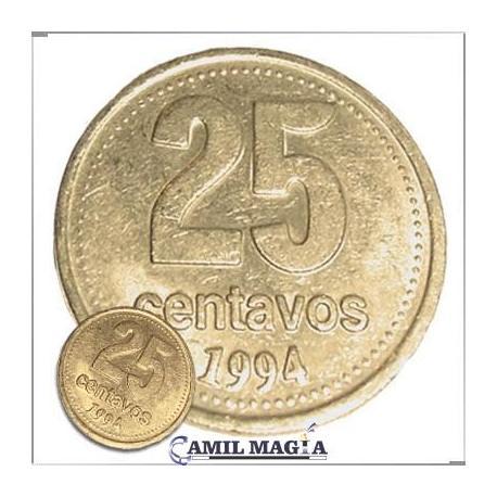 Moneda Jumbo 25c Dorada